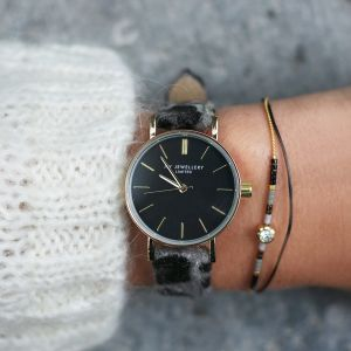 Leopard Watch - Grey/Gold