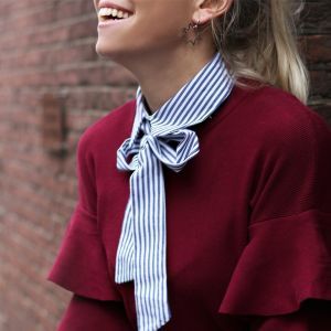 Striped Pussy Bow Collar - Blue/White