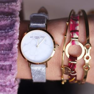 Velvet Marble Watch - Grey - Gold/Silver/Rose