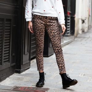 Suedine Leopard Pantalon - Brown/Black