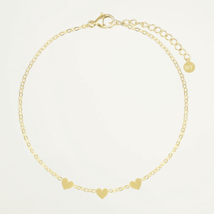 Armband drie hartjes-Goud kleurig