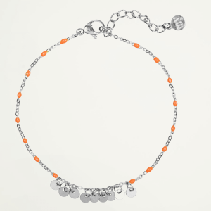 Armband oranje kralen & muntjes, coin bracelet