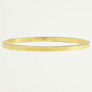 Bangle quote goud life, stalen armband