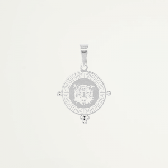 Round Charm Leopard Head – Gold/Silver-Zilver kleurig