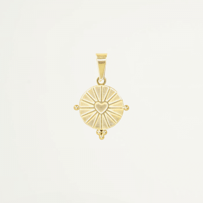 Round Charm Heart – Gold/Silver-Goud kleurig