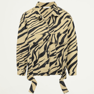 Beige oversized spijkerjas zebraprint, denim jacket