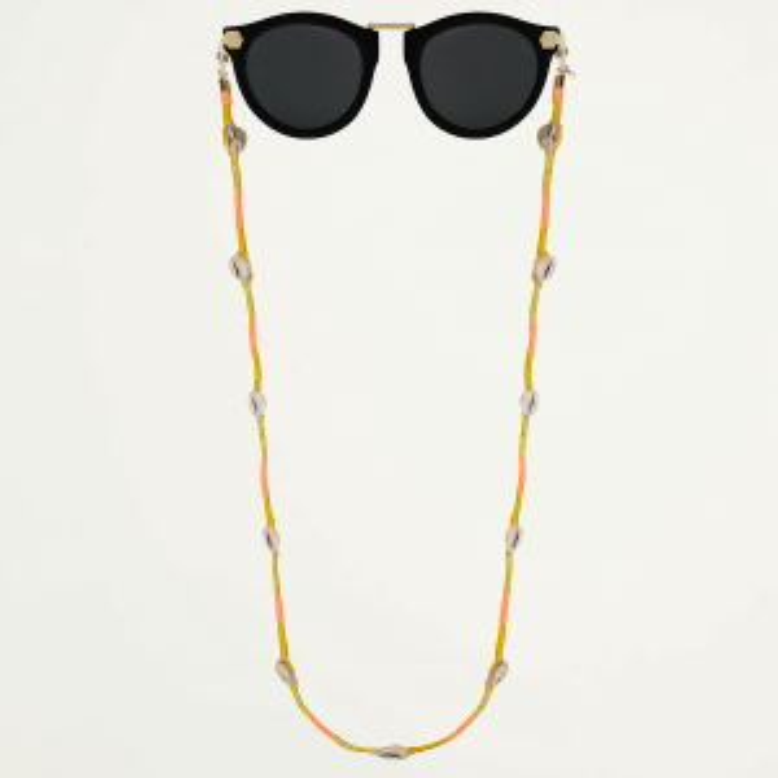 Goud zonnebrilkoord touw & schelp, zonnebrilkoordje