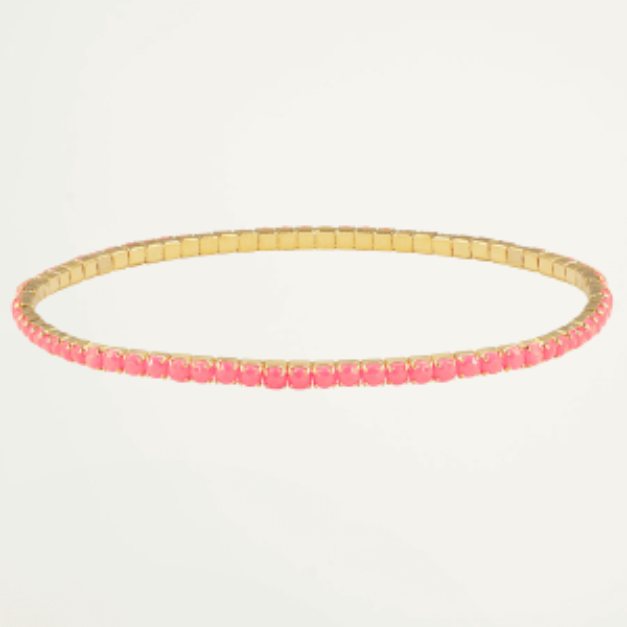 Goud kleurige armband strass steentjes-Roze
