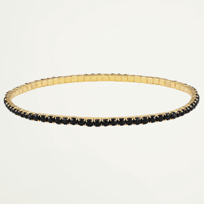 Gouden armband strass steentjes zwart, armband diamantjes