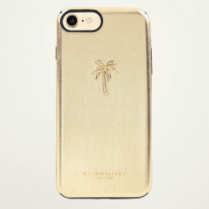 Goud kleurige telefoonhoesje palmboom