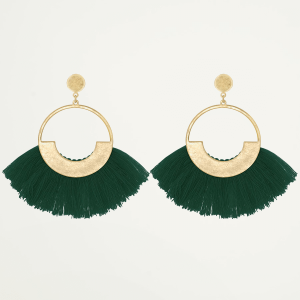 Green Tassel Hoops Gold