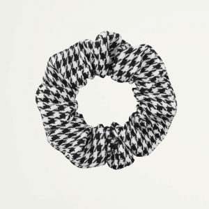 Houndstooth Scrunchie, zwart witte scrunchie