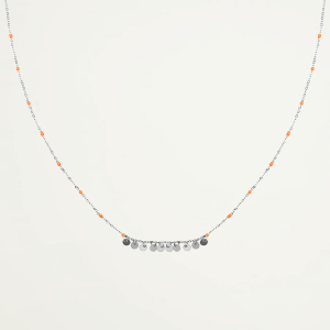 Ketting oranje kralen muntjes, coin necklace