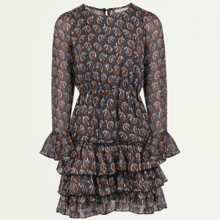 Korte paisly jurk met laagjes, korte jurkje