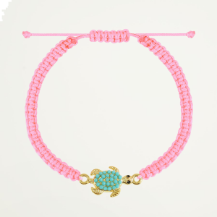 Lichtroze touwarmbandje schildpad, touw armband