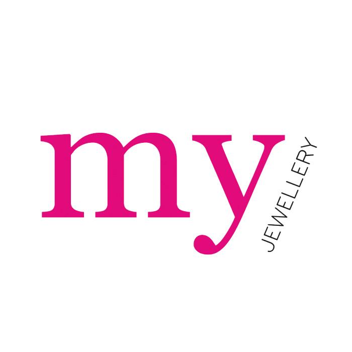 Oorbel ketting & zwart steentje-Zilver kleurig