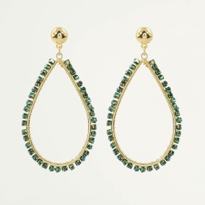 Crystal Teardrop Earring Green-Goud kleurig