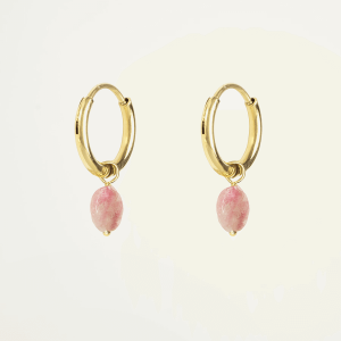 Oorringen met lichtroze steentje, gouden oorringen