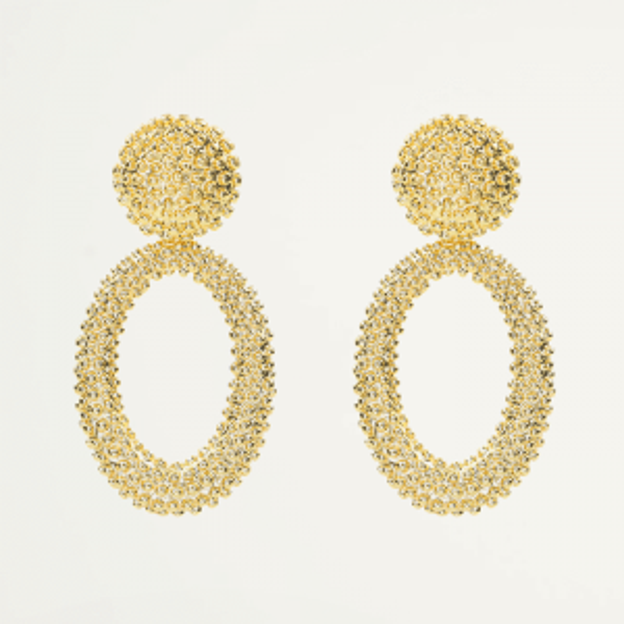 Ovale oorhangers bolletjes-Goud kleurig