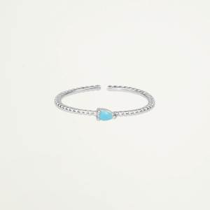 Ring blauw steentje, ring met steen