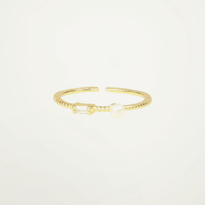 Ring strass & parel, minimalistische ring