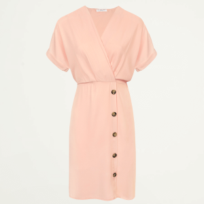 Roze midi jurk met knopen, middellange jurk