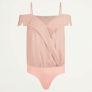 Roze off shoulder body, katoenen body