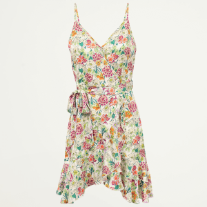 Witte jurk spaghettibandjes & bloemen-XS