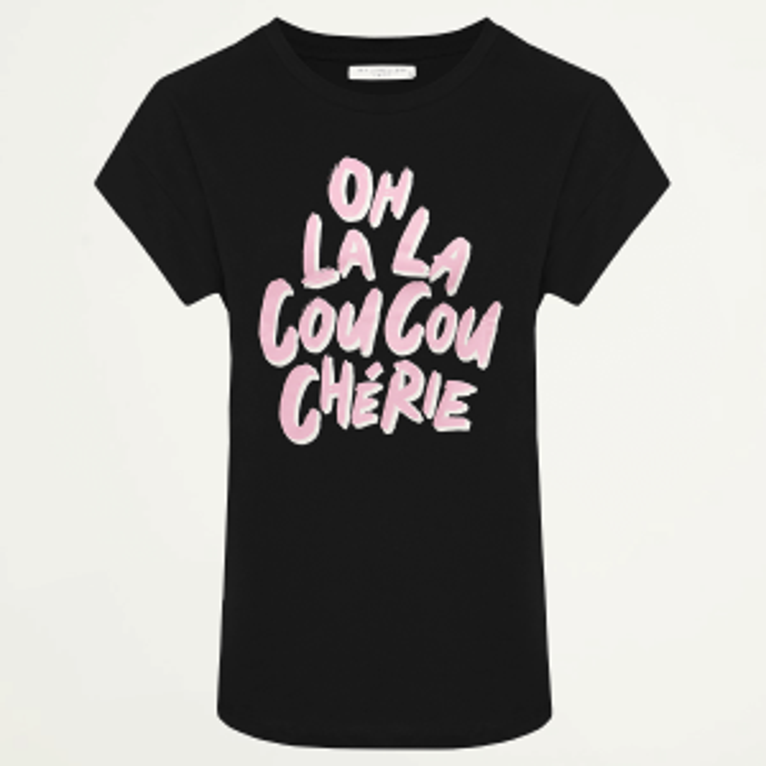 Zwart boyfriend shirt oh la la, oversized t-shirt