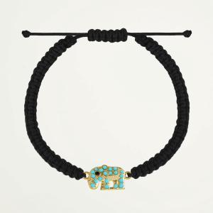 Zwart touwarmbandje olifant, zwart touwarmbandje