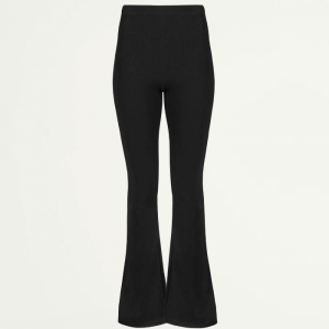 Flared Pants Rib - Black-XS