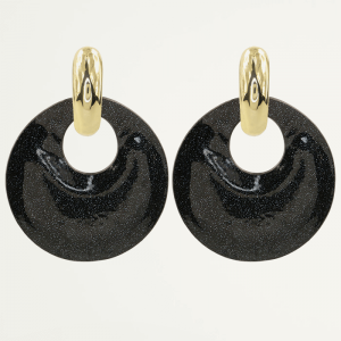Zwarte ronde statement oorbellen