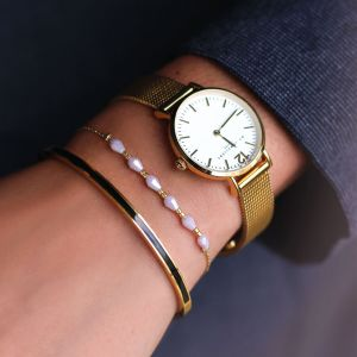 Lila armband/enkelbandje zes kralen