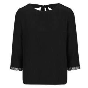 Black Open Back ¾ Sleeve Top-XS