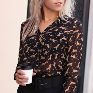 Leopard Figure Sheer Blouse – Black