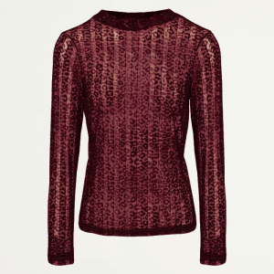Burgundy Leopard Lace Top