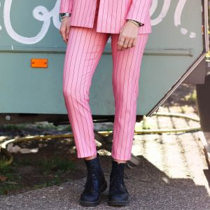 Roze pantalon krijtstreep