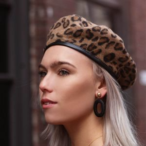 Brown Leopard Beret