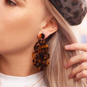 Brown Resin Chandelier Earrings