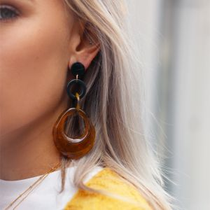 Brown Resin Hoops Earrings