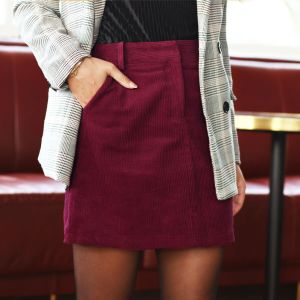 Bordeaux Corduroy A-Line Skirt