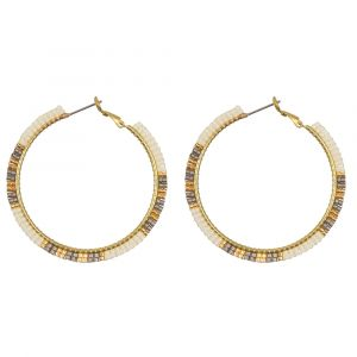 Witte oorringen kraaltjes My Jewellery