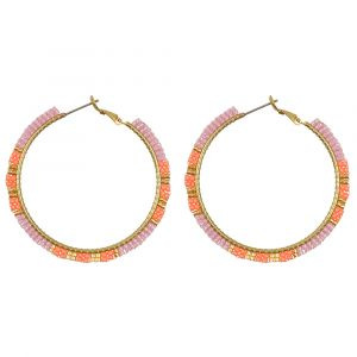 Roze oorringen kraaltjes My Jewellery