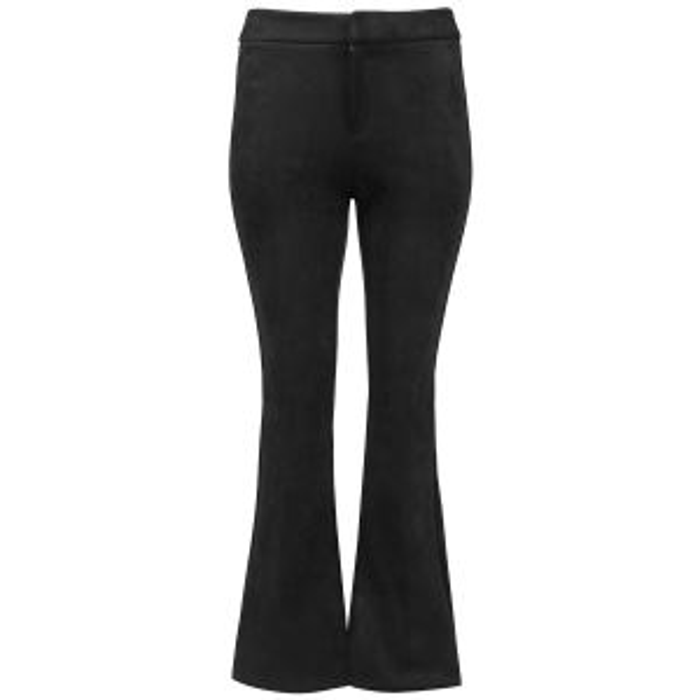 Zwarte suedine flared pants, broek met flare