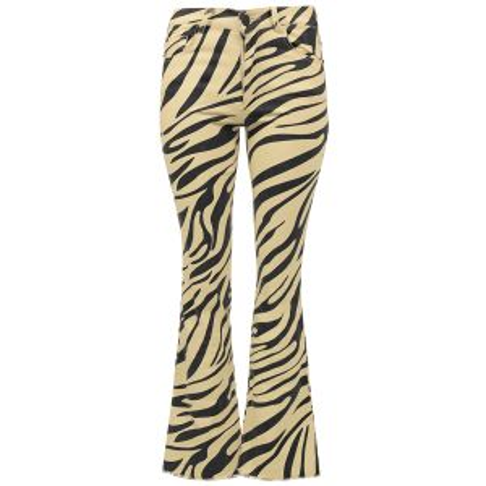 Beige bootcut jeans zebraprint-XS