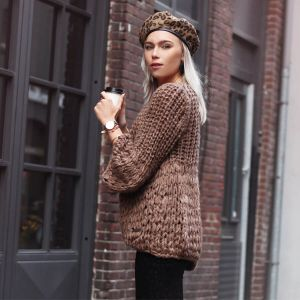 Brown Knitted Cardigan Puff Sleeve