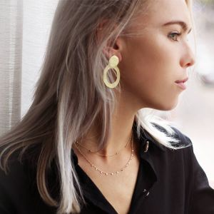 Circle Statement Earrings Gold