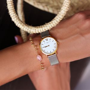Medium Bicolor Watch - Silver/Gold/White