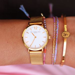 Medium Mesh Watch - White/Gold