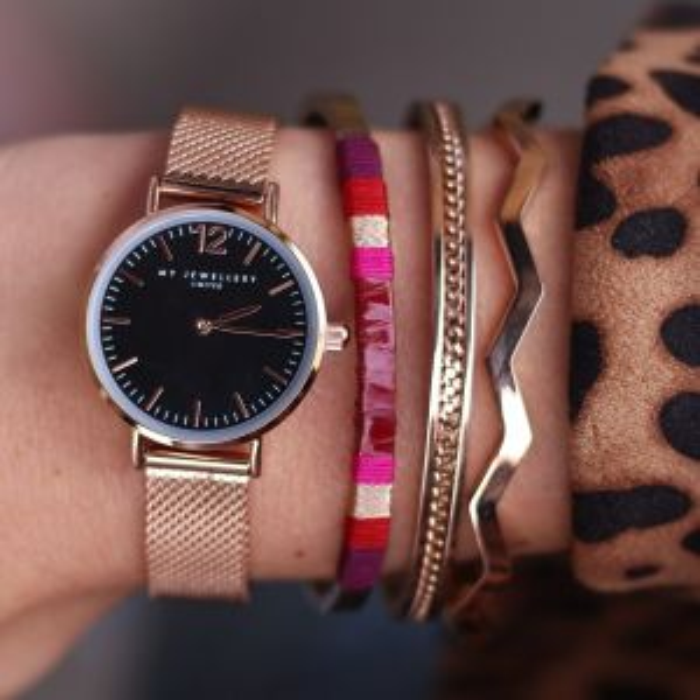 My Jewellery watch small mesh - black/rose